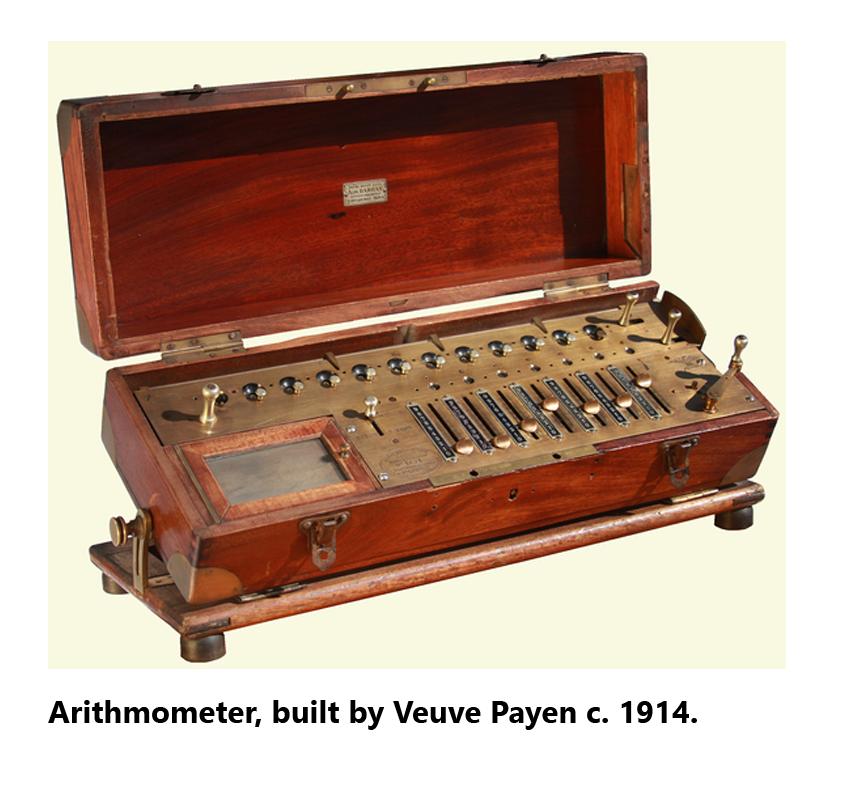 Picture of an arithmometer built in 1914.