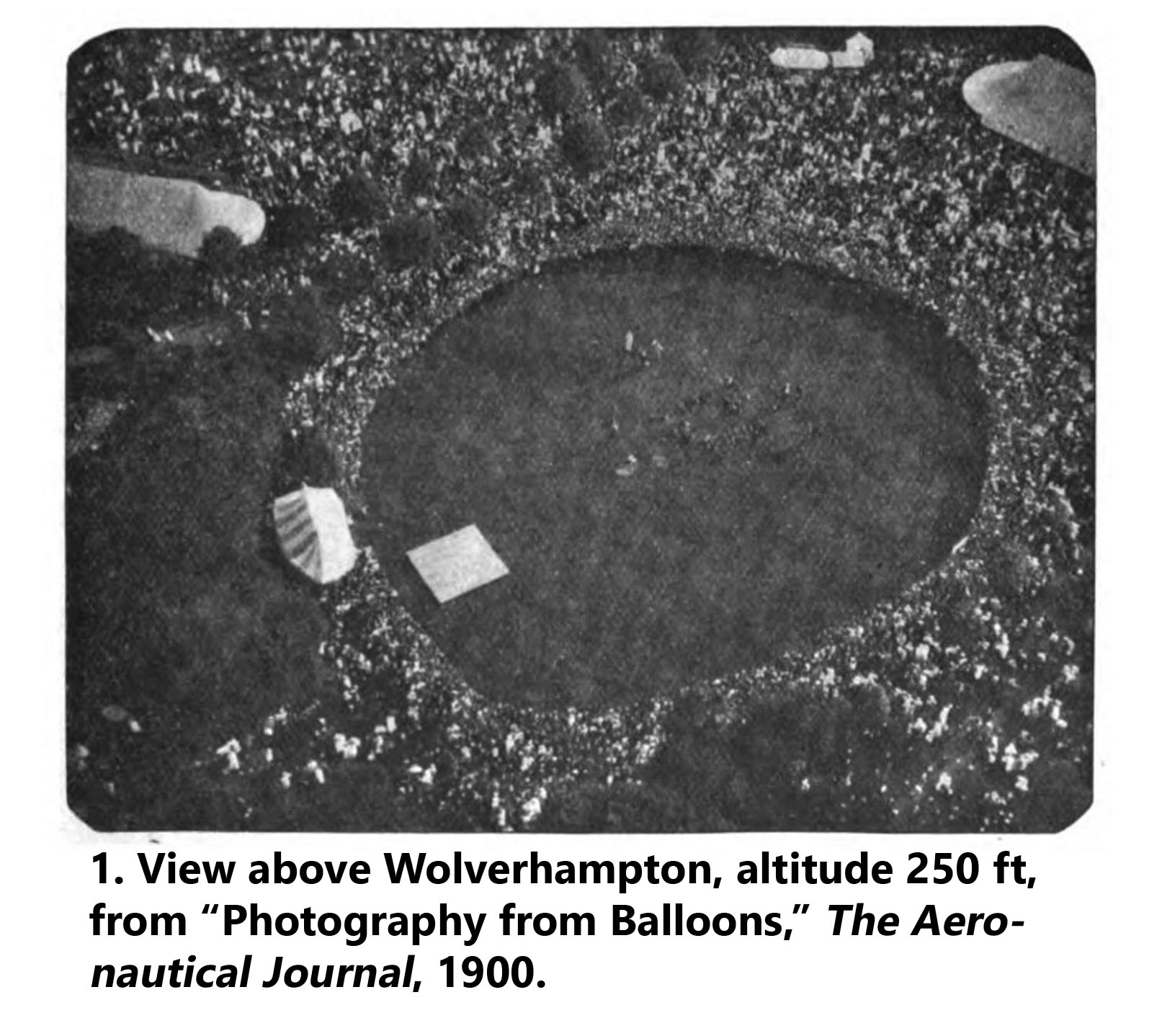 Aerial photograph above Wolverhampton, depicts crowd watching photographer ascend in a hydrogen balloon, 1900