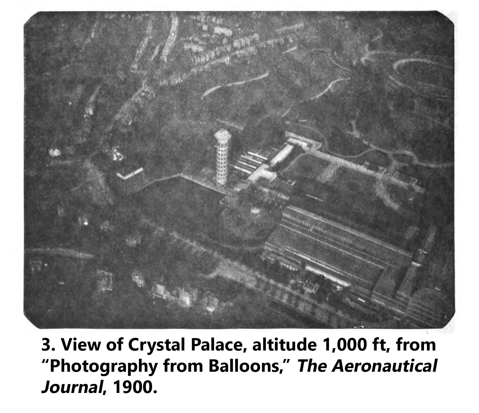 Aerial photo of the Crystal Palace in London from 1,000 ft, 1900