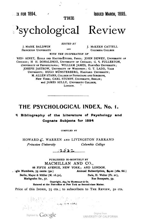 Title page of the first Psychological Index volume.