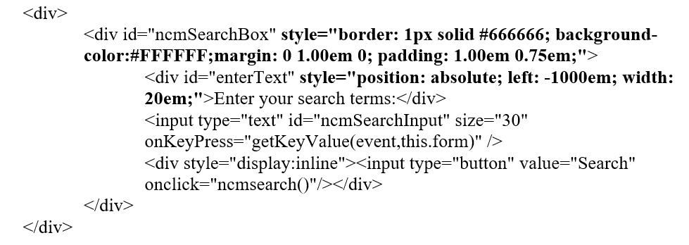 Picture of front-end HTML code